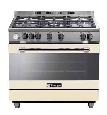 """תנור אפיה ברוחב 90 ס""""מ משולב כיריים 5 להבות בגימור קרם תוצרת TECNOGAS דגם 90 pro level 2"""