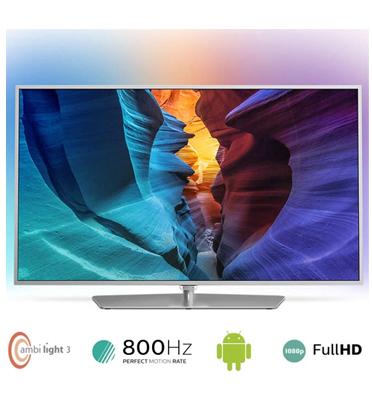 "טלוויזיה ""50 LED SMART ANDROID 3D, מעבד PMR 800HZ, כולל Ambilight מבית PHILIPS דגם 50PFK6510"