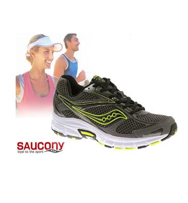 נעלי ספורט וריצה תוצרת SAUCONY GRID דגם COHESION 8 צבע אפור פס ירוק.