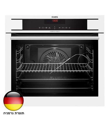 תנור אפיה בנוי נפח תא אפיה 72 ליטר פיקוד טאץ' סגירת דלת רכה בצבע לבן תוצרת AEG דגם BE1731410W