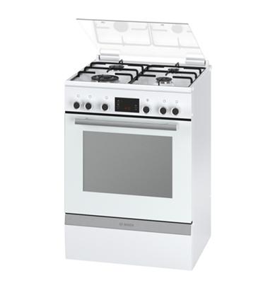 תנור משולב כיריים תוצרת בוש בגימור לבן סגירת דלת רכה דגם HGD74W320Y