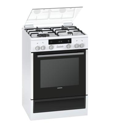 תנור אפייה משולב כיריים תוצרת סימנס צבע לבן סגירת דלת רכה דגם HX74W230Y