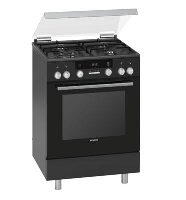 תנור אפייה משולב כיריים תוצרת סימנס צבע שחור סגירת דלת רכה דגם HX74W630Y