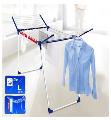מתלה כביסה חזק ויציב לא מחליד ולא נשבר LEIFHEIT כולל מתקן לתלייה פריטים קטנים ומתלי חולצות + מת