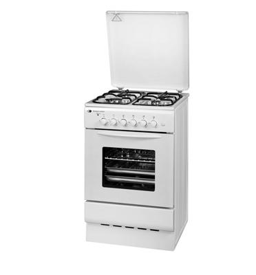"""תנור אפיה משולב כיריים גז צר ברוחב 50 ס""""מ בגימור לבן מבית SCHAUB LORENZ דגם 5060W"""