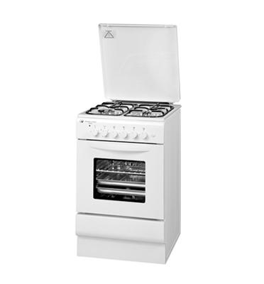 """תנור אפיה משולב כיריים גז צר ברוחב 50 ס""""מ בגימור לבן מבית SCHAUB LORENZ דגם 50WT"""