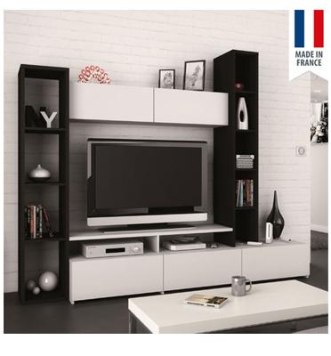 מערכת קיר לסלון עם מקום למסך טלוויזיה, מגירות ומדפים תוצרת צרפת HOME DECOR דגם וניל