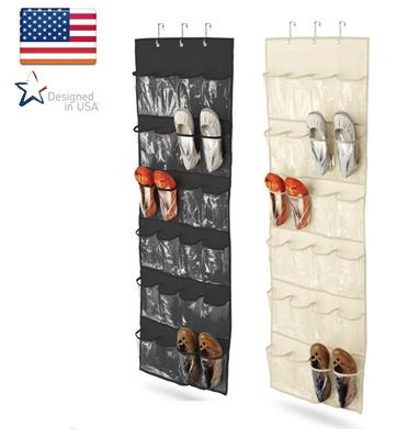 מתלה לנעליים/ חפצים 24 תאים נתלה על הדלת מבד איכותי וייחודי honey can do דגם SFT-01249- שחור