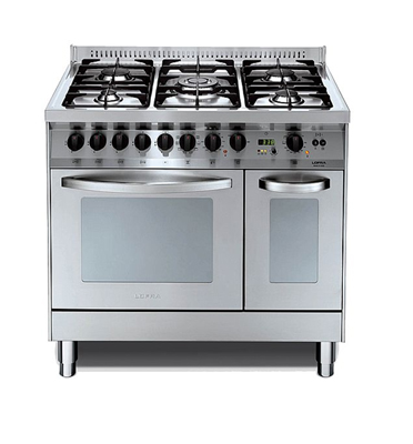 """תנור משולב כיריים דו תאי ברוחב 90 ס""""מ בעיצוב תעשייתי נירוסטה תוצרת LOFRA דגם PD96MF/CI"""