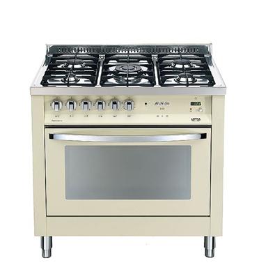 """תנור משולב כיריים בעיצוב תעשייתי ואלגנטי 90 ס""""מ צבע קרם תוצרת LOFRA דגם MSBIG96MF/CI"""