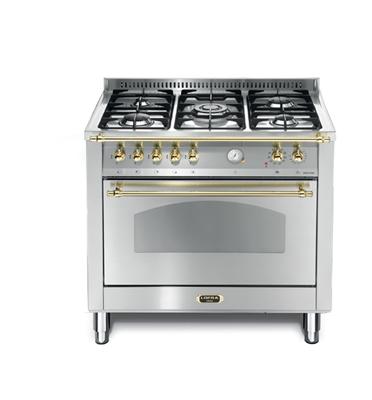 """תנור משולב כיריים בעיצוב כפרי ברוחב 90 ס""""מ בצבע נירוסטה תוצרת LOFRA דגם RSG96MFT/CI"""