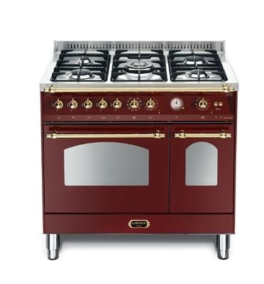 """תנור משולב כיריים דו תאי בעיצוב כפרי ברוחב 90 ס""""מ צבע בורדו תוצרת LOFRA. דגם RRD96MFTE/CI"""