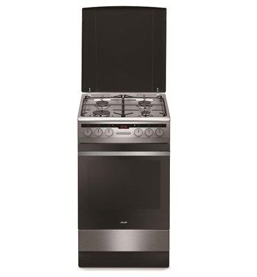 """תנור אפייה משולב כיריים ברוחב 50 ס""""מ גימור נירוסטה תוצרת SAUTER. דגם SAF850X"""