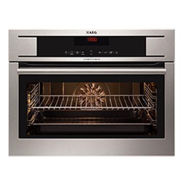 """תנור אפיה בנוי רב תכליתי עם טורבו אקטיבי בגובה 45 ס""""מ תוצרת AEG דגם KE8404101M"""