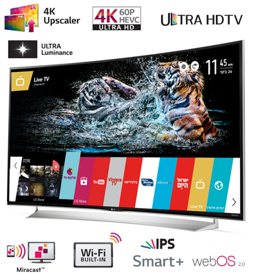 """טלוויזיה 55"""" Slim LED Smart TV 3D, פאנל IPS, ברזולוציית 4K Ultra HD תוצרת LG דגם 55UG870Y"""