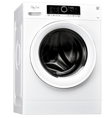 """מכונת כביסה פתח חזית 8 ק""""ג 1,000 סל""""ד בטכנולוגיית החוש השישי תוצרת Whirlpool דגם FSCR80211"""