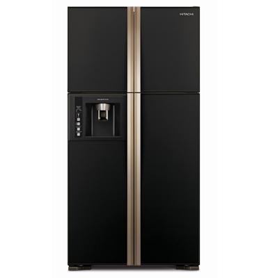 מקרר 4 דלתות עם מקפיא עליון וקיוסק זכוכית שחורה תוצרת HITACHI דגם RW660GBK