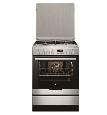 תנור אפיה משולב כיריים בנפח 72 ליטר גימור נירוסטה תוצרת Electrolux דגם EKK6430AMX