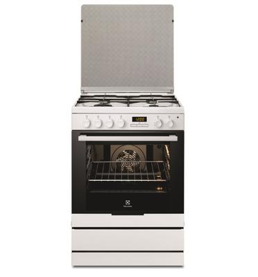תנור אפיה משולב כיריים בנפח 72 ליטר צבע לבן תוצרת Electrolux דגם EKK6430AMW