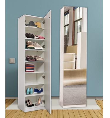 ארון בעל 8 מדפי עץ כולל דלת חזית בחיפוי מראה. מבית Homax דגם שגיא
