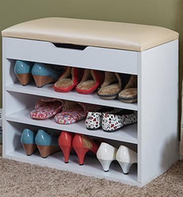 מושב התארגנות כולל מדפים לנעליים, תא אחסון עליון נפתח וריפוד לישיבה תוצרת Homax