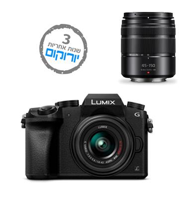 """מצלמה DSLM (ללא מראה) 16MP וידאו 4K עם עדשה 14-42 מ""""מ תוצרת Panasonic דגם DMC G7"""