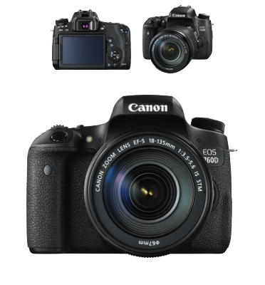 """מצלמת רפלקס DSLR חזקה 24.2M כולל עדשה 18-135מ""""מ תוצרת CANON דגם EOS 760D"""