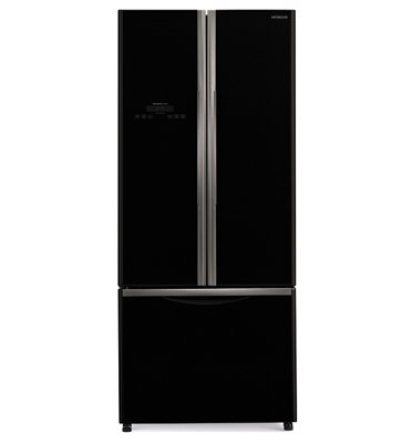 מקרר 3 דלתות מפואר בציפוי זכוכית עם מקפיא תחתון צבע שחור תוצרת HITACHI דגם RWB550GBK