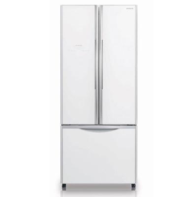 מקרר 3 דלתות מפואר בציפוי זכוכית עם מקפיא תחתון, צבע לבן תוצרת HITACHI דגם RWB550GPW