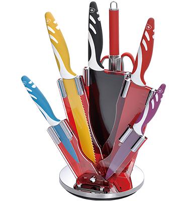 סט סכינים 8 חלקים צבעוני מבית ROYALTY LINE דגם RL-COL8