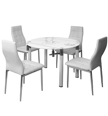 פינת אוכל עגולה מעוצבת מזכוכית וניקל עם 4 כסאות בריפוד דמוי עור איכותי מבית SIRS דגם TB0019-6