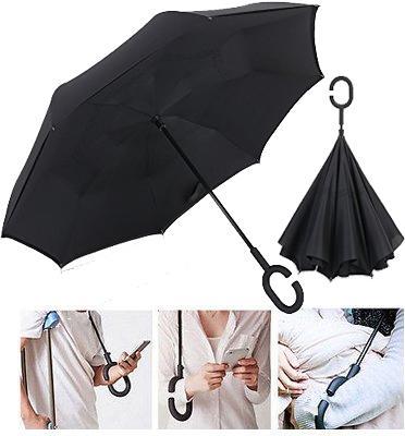 מטריה הפוכה עם ידית ארגונומית חכם ומדליק מבית Up Side Down Umberlla