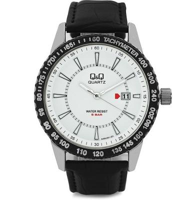 שעון יד Q&Q לגבר עם מחוגים ושנתות זוהרות עימד במים עד 50 מטר דגם QS-A450J301Y