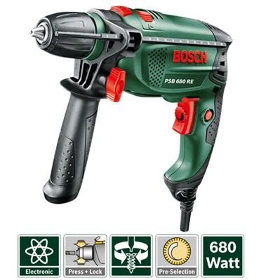 מקדחה 680 וואט קומפקטית במשקל נמוך במיוחד מבית BOSCH דגם PSB 680 RE