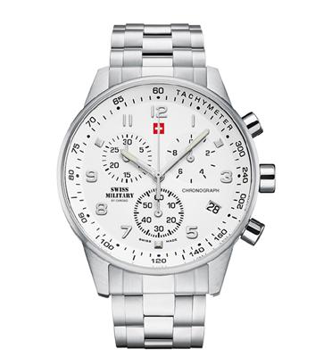 שעון יד כרונוגרף שוויצרי לגבר עם זכוכית ספיר עשוי פלדת אל חלד מבית SWISS MILITARY דגם SM3401202