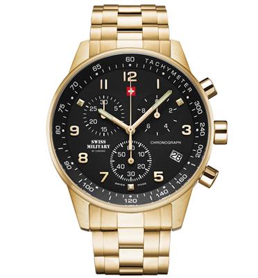 שעון יד שוויצרי לגבר עשוי פלדת אל חלד מוזהבת עם זכוכית ספיר מבית SWISS MILITARY דגם SM3401212