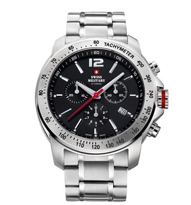 שעון כרונוגרף שויצרי עשוי פלדת אל חלד עמיד במים מבית SWISS MILITARY דגם SM3403301
