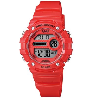 שעון יד דיגיטלי לאישה עם תאורה, סטופר, טיימר, שעון מעורר ותאריך מבית Q&Q דגם QS-M154J004Y
