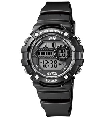 שעון יד דיגיטלי לאישה עם סטופר, טיימר, שעון מעורר תאורה ותאריך מבית Q&Q דגם QS-M154J002Y