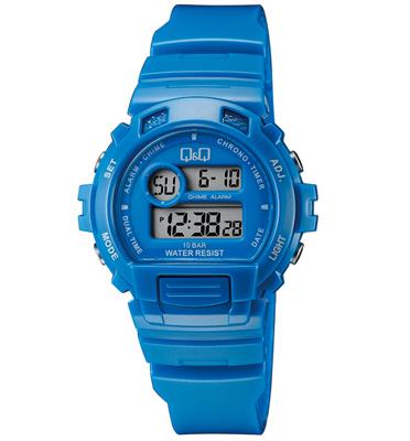 שעון יד דיגיטלי לאישה עם תאורה, סטופר, שעון מעורר, טיימר ותאריך מבית Q&Q דגם QS-M153J006Y