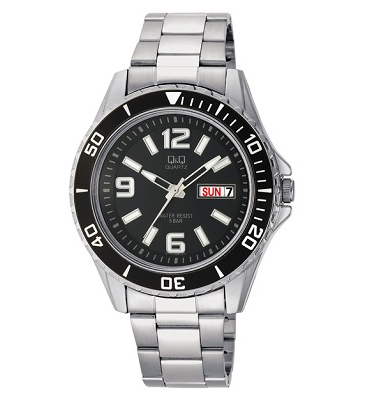 שעון יד ספורטיבי לגבר עשוי פלדה משולבת ועמיד במים עד 50 מטר מבית Q&Q דגם QS-A172-205Y