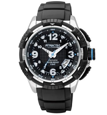 שעון יד לגבר מסדרת ATRACTIVE בעיצוב ספורטיבי עם שנתות ומחוגים זוהרים מבית Q&Q דגם QS-DA60J305Y