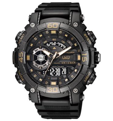שעון יד אנלוגי דיגיטלי לגבר עם תאורת מסך ומחוגים זוהרים מבית Q&Q דגם QS-GW87J004Y