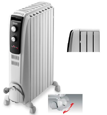 רדיאטור 10 צלעות 3 הספקי חימום מסדרת DRAGON בצבע לבן מבית Delonghi דגם TRD41025