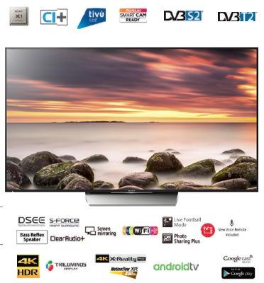 """טלוויזייה 75"""" 4K ANDROID TV LED תוצרת SONY דגם KD-75XD8505BAEP"""