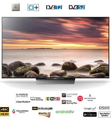 """טלוויזיה 55""""  Android TV 4K תוצרת SONY דגם KD-55XD8599BAEP"""