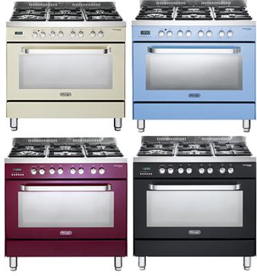 תנור משולב כיריים מפואר בצבעים מרהיבים תוצרת Delonghi דגם NDS979
