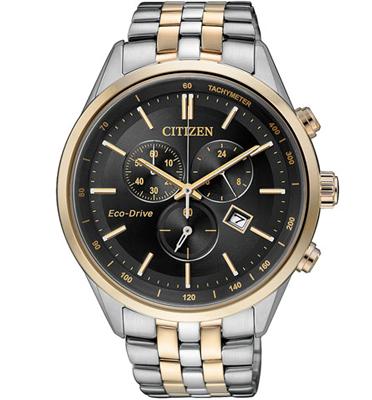 """שעון כרונוגרף ECO DRIVE עם טעינה סולארית ע""""י האור ללא צורך בסוללה מבית CITIZEN דגם CI-AT214659E"""