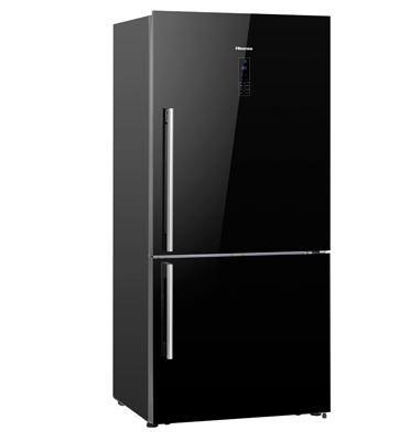 מקרר עם מקפיא תחתון 500 ליטר עם צג דיגיטלי בגימור זכוכית שחורה Hisense דגם RD60WC4S