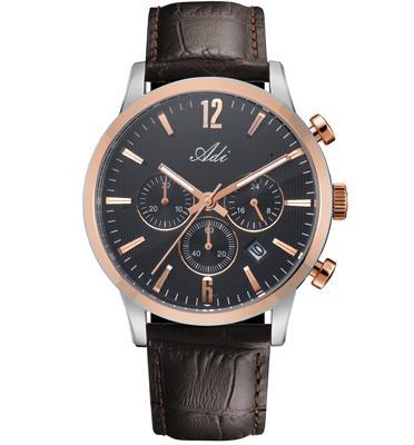 שעון כרונוגרף לגבר עשוי פלדת אל חלד ועמיד במים עד 50M מבית ADI דגם 19-3493-491